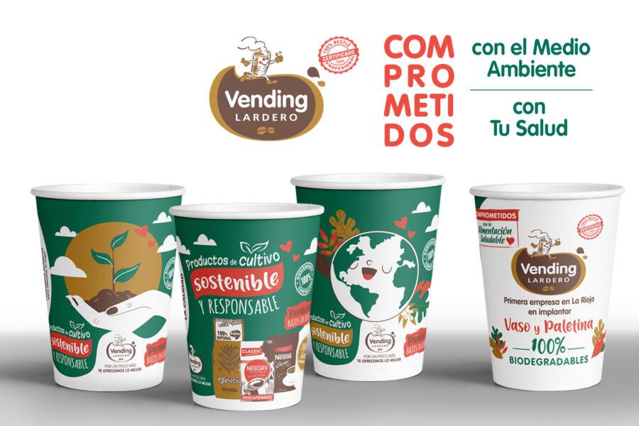 Marino Comunicación diseñas los vasos biodegradables de Vending Lardero